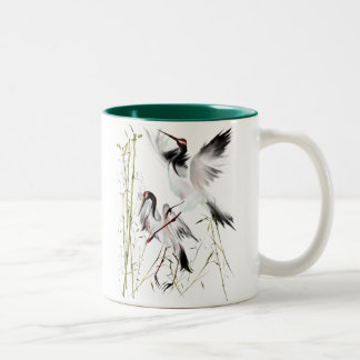 Two Cranes In Bamboo Mugs