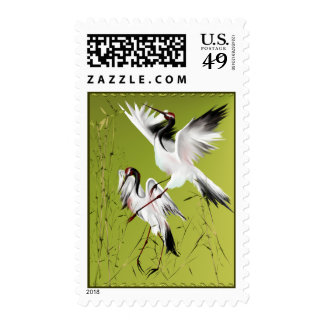 Two Cranes In Bamboo Postage