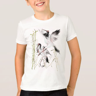 Two Cranes In Bamboo Shirts
