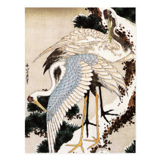 Two cranes on a pine covered with snow Hiroshige Post Cards