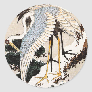 Two cranes on a pine covered with snow, Hiroshige Round Sticker