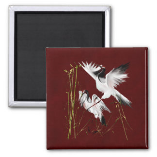 Two Cranes On Burgundy3 Magnet
