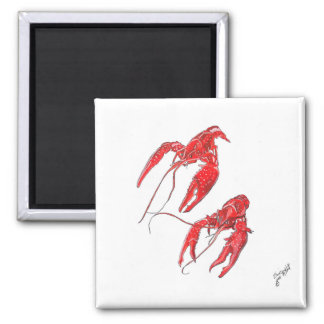 Two Crawfish 2 Inch Square Magnet