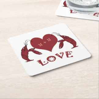 Two Crawfish Lobsters And Heart Square Paper Coaster