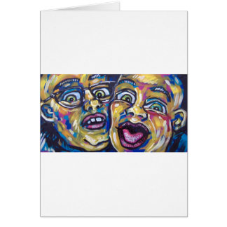 two crazy guys greeting card