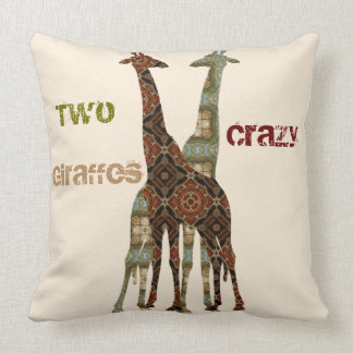 Two Crazy Looking Giraffes Throw Pillow