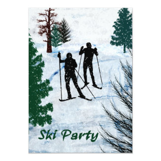Two Cross Country Skiers in Snow Storm Party 5x7 Paper Invitation Card