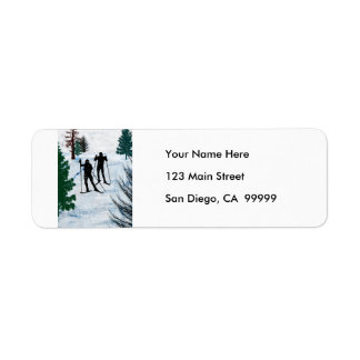 Two Cross Country Skiers Label