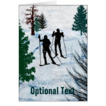 Two Cross Country Skiers Snow Storm - Customizable Card