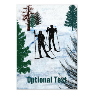 Two Cross Country Skiers Snow Storm - Customizable 5x7 Paper Invitation Card