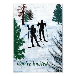 Two Cross Country Skiers Snow Storm You're Invited 5x7 Paper Invitation Card