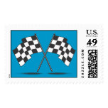 Two Crossed Checked Racing Flags Postage