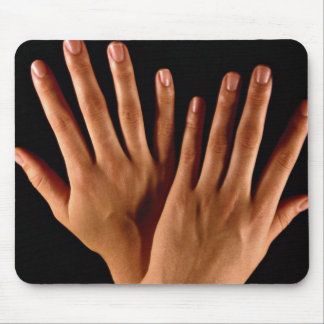 Two crossed hands mouse pad