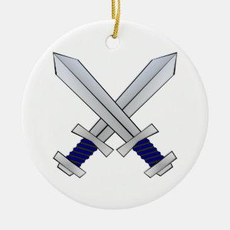 Two Crossed Swords Ceramic Ornament