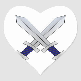 Two Crossed Swords Heart Sticker