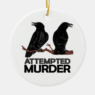 Two Crows = Attempted Murder Double-Sided Ceramic Round Christmas Ornament