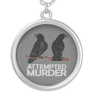 Two Crows = Attempted Murder Silver Plated Necklace