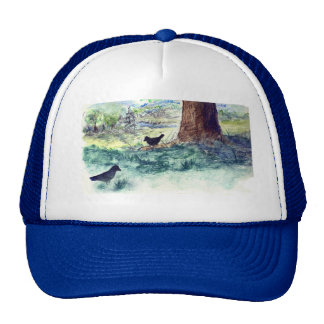 Two Crows on a Summer's Day - watercolor pencil Trucker Hat
