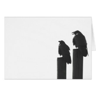 Two crows on posts card