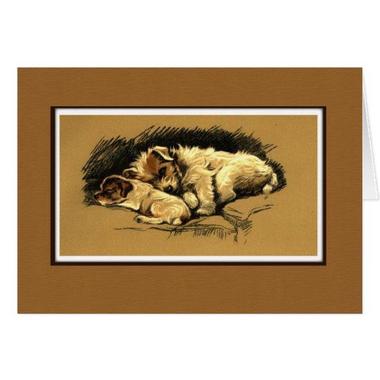 Two Cuddling Dogs Illustration Card