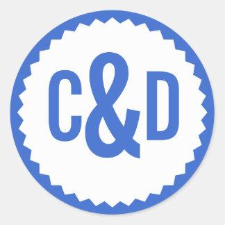 Two Custom Initials Seal Zigzag Border, Delft Blue Classic Round Sticker