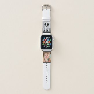 Two Custom Photos with Black Borders on White Apple Watch Band