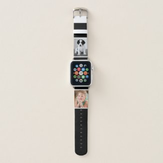 Two Custom Photos with White Borders on Black Apple Watch Band
