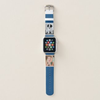 Two Custom Photos with White Borders on Blue Apple Watch Band