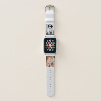 Two Custom Photos with White Borders on Gray Apple Watch Band