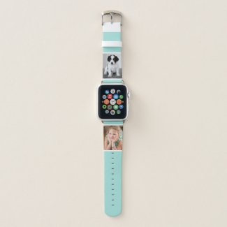 Two Custom Photos with White Borders on Mint Green Apple Watch Band