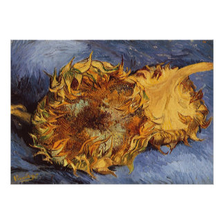 Two Cut Sunflowers by Vincent van Gogh Poster