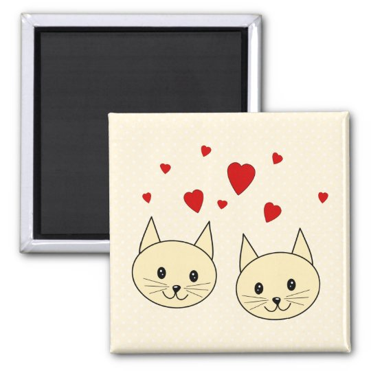 Two Cute Amber Color Cats with Red Hearts. 2 Inch Square Magnet