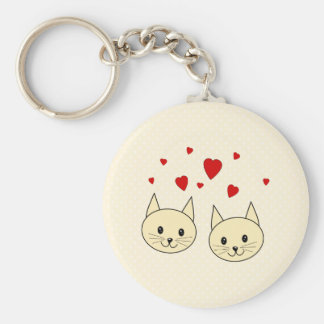 Two Cute Amber Color Cats with Red Hearts. Basic Round Button Keychain