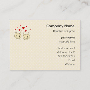 Two cats business cards zazzle two cute amber color cats with red hearts business card reheart Choice Image
