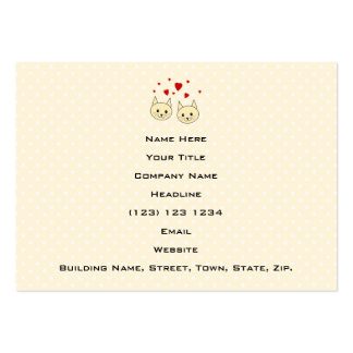 Two Cute Amber Color Cats with Red Hearts. Large Business Cards (Pack Of 100)