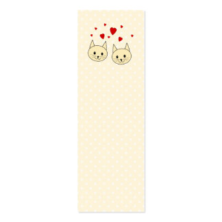 Two Cute Amber Color Cats with Red Hearts. Double-Sided Mini Business Cards (Pack Of 20)