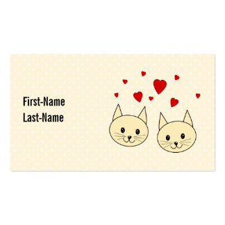 Two Cute Amber Color Cats with Red Hearts. Double-Sided Standard Business Cards (Pack Of 100)