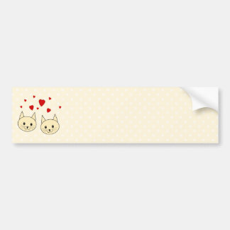 Two Cute Amber Color Cats with Red Hearts. Car Bumper Sticker