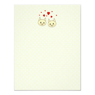 Two Cute Amber Color Cats with Red Hearts. Card