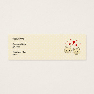 Two Cute Amber Color Cats with Red Hearts. Mini Business Card
