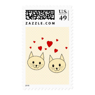 Two Cute Amber Color Cats with Red Hearts. Postage Stamps