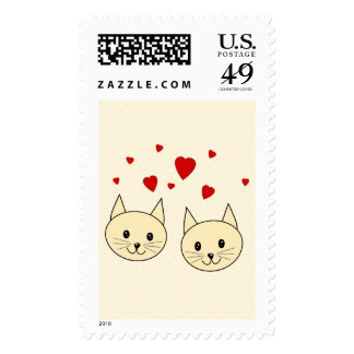 Two Cute Amber Color Cats with Red Hearts. Stamps