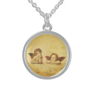 Two cute baby angels sterling silver necklaces