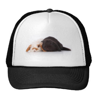 Two cute baby bunnies trucker hat