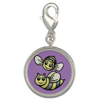 Two Cute Bees on Lilac Charm