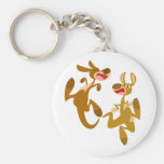 Two Cute Bouncy Cartoon Kangaroos Keychain