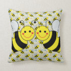 Two Cute Bumble Bees Throw Pillow