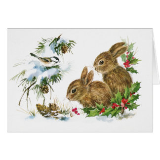 Two Cute Bunnies Christmas Card