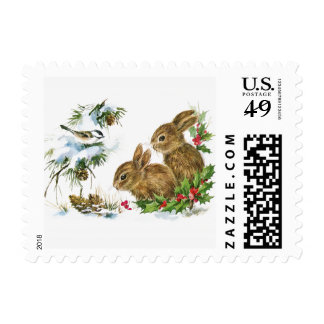 Two Cute Bunnies in Winter Postage