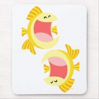 Two Cute Cartoon Fish Mousepad mousepad